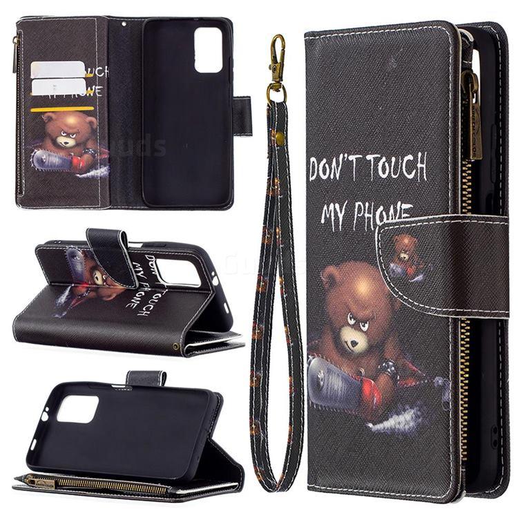 Chainsaw Bear Binfen Color BF03 Retro Zipper Leather Wallet Phone Case for Mi Xiaomi Poco M3