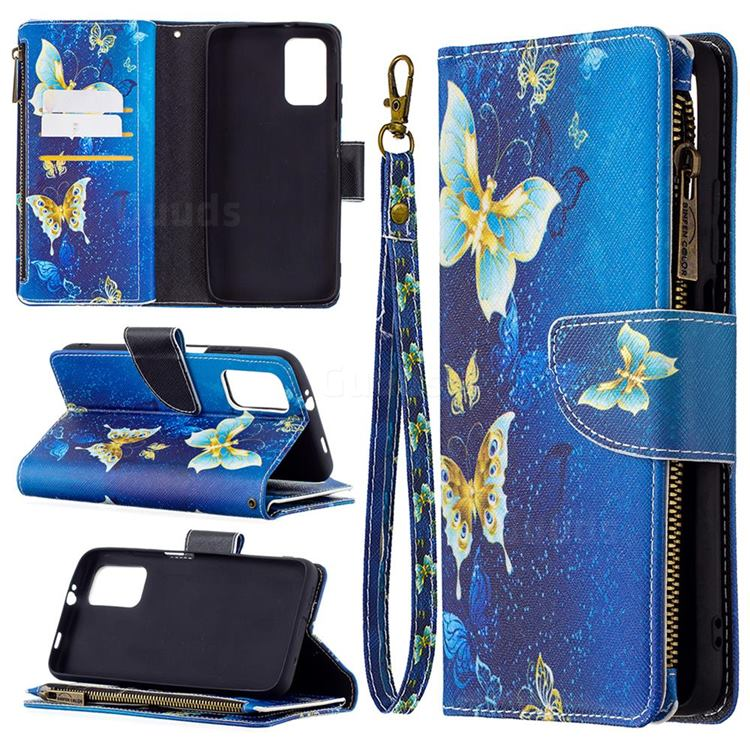 Golden Butterflies Binfen Color BF03 Retro Zipper Leather Wallet Phone Case for Mi Xiaomi Poco M3