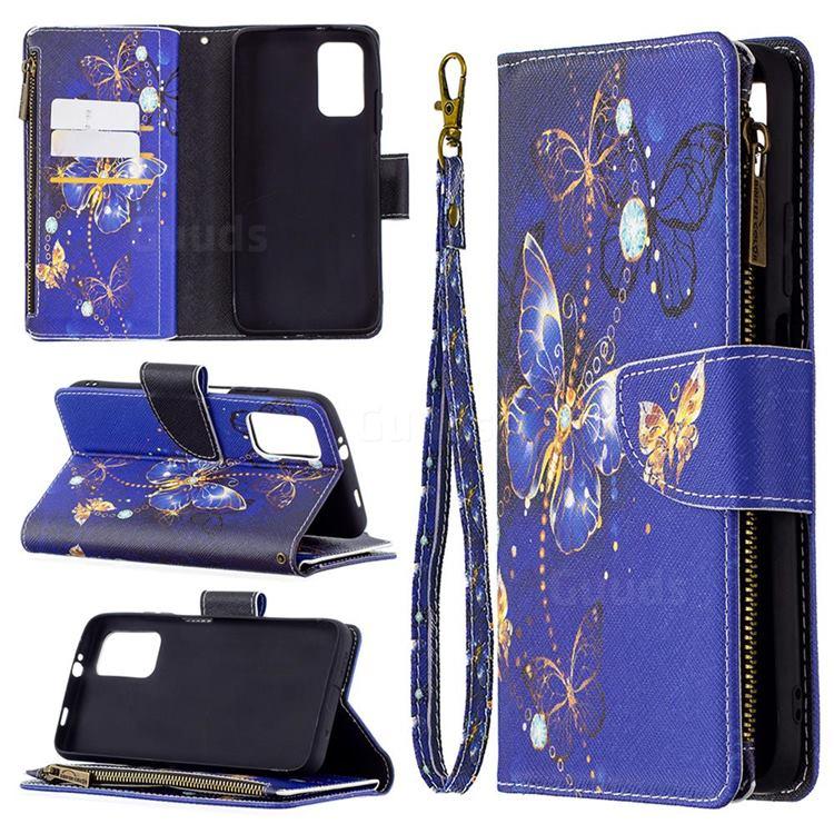 Purple Butterfly Binfen Color BF03 Retro Zipper Leather Wallet Phone Case for Mi Xiaomi Poco M3