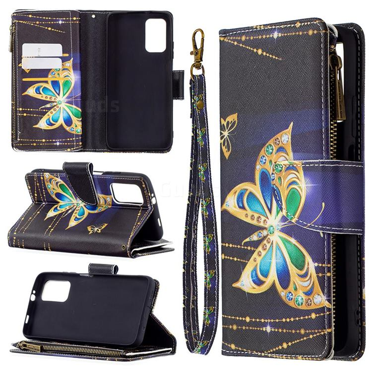 Golden Shining Butterfly Binfen Color BF03 Retro Zipper Leather Wallet Phone Case for Mi Xiaomi Poco M3