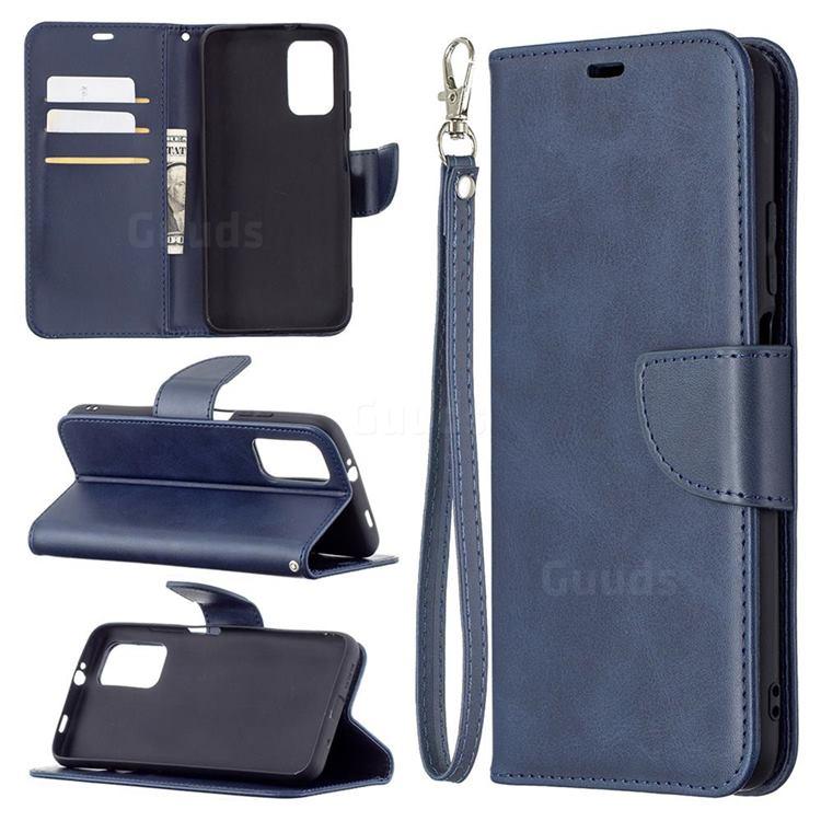 Classic Sheepskin PU Leather Phone Wallet Case for Mi Xiaomi Poco M3 - Blue
