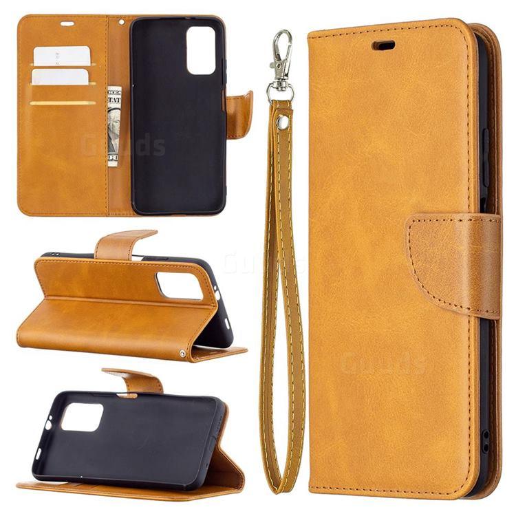 Classic Sheepskin PU Leather Phone Wallet Case for Mi Xiaomi Poco M3 - Yellow