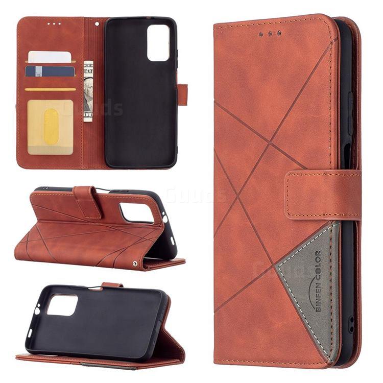 Binfen Color BF05 Prismatic Slim Wallet Flip Cover for Mi Xiaomi Poco M3 - Brown