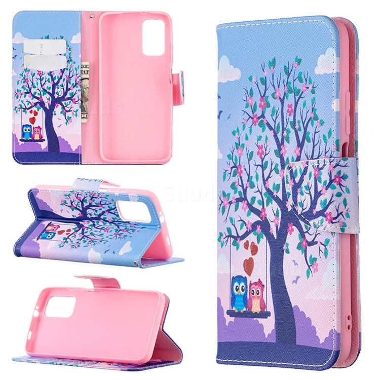 Tree and Owls Leather Wallet Case for Mi Xiaomi Poco M3