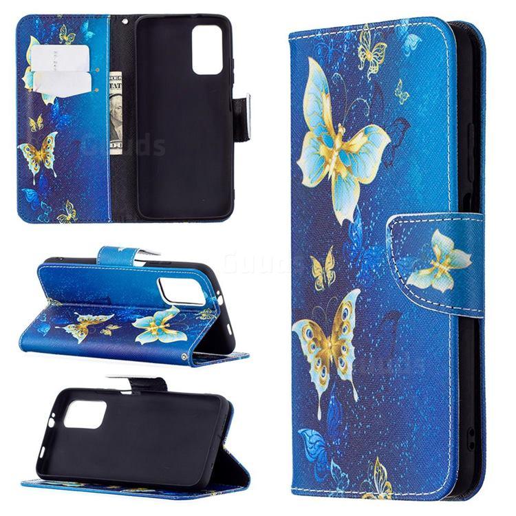 Golden Butterflies Leather Wallet Case for Mi Xiaomi Poco M3