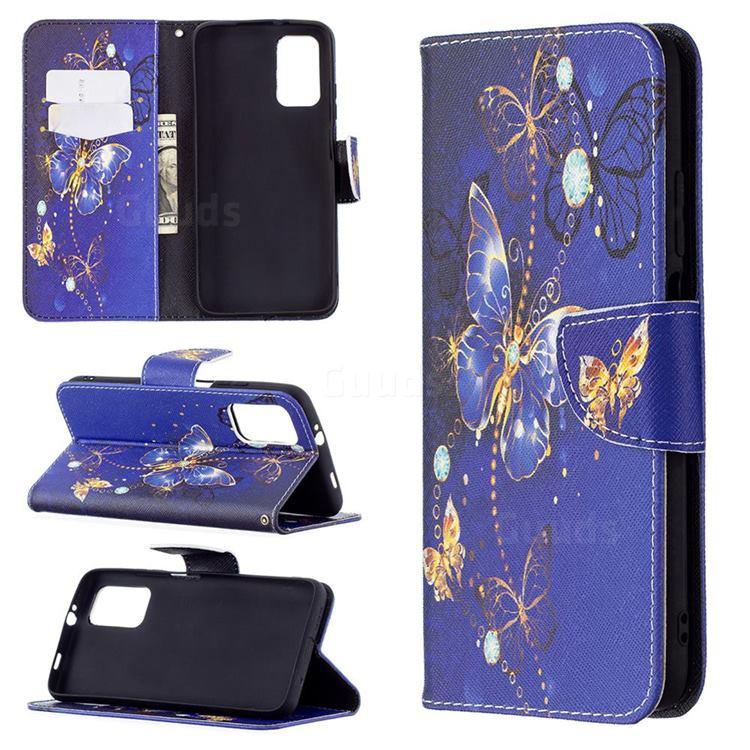 Purple Butterfly Leather Wallet Case for Mi Xiaomi Poco M3