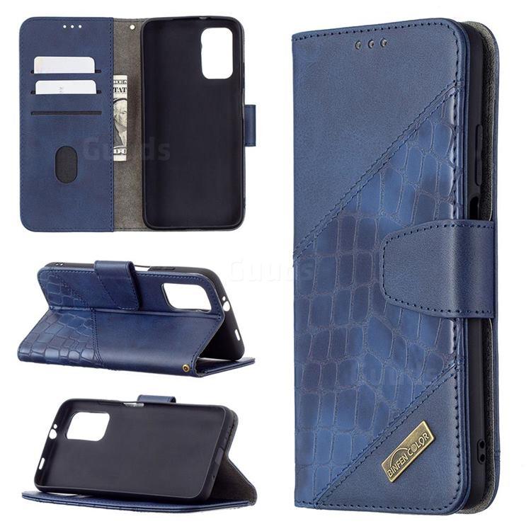 BinfenColor BF04 Color Block Stitching Crocodile Leather Case Cover for Mi Xiaomi Poco M3 - Blue