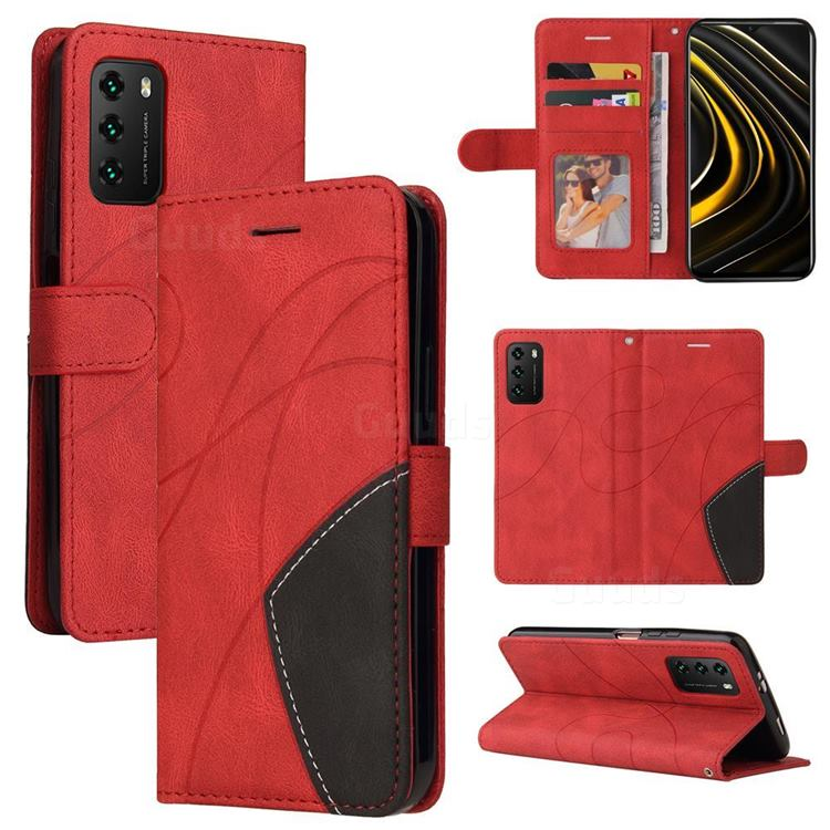 Luxury Two-color Stitching Leather Wallet Case Cover for Mi Xiaomi Poco M3 - Red