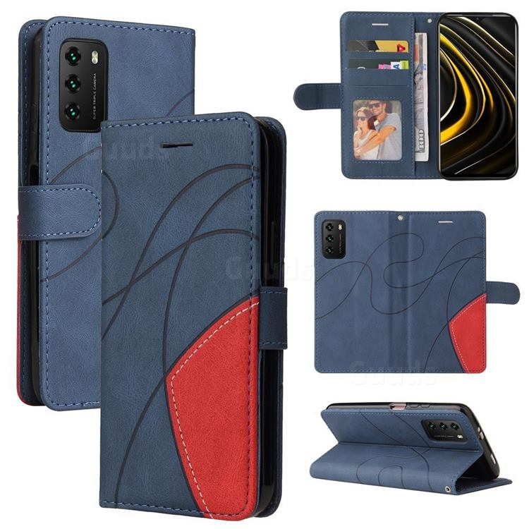 Luxury Two-color Stitching Leather Wallet Case Cover for Mi Xiaomi Poco M3 - Blue