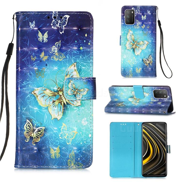 Gold Butterfly 3D Painted Leather Wallet Case for Mi Xiaomi Poco M3