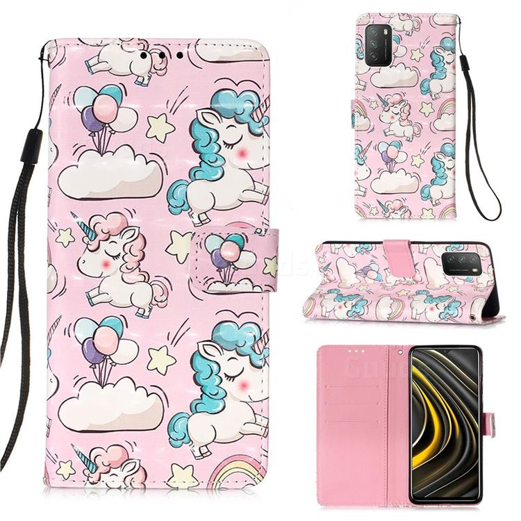 Angel Pony 3D Painted Leather Wallet Case for Mi Xiaomi Poco M3