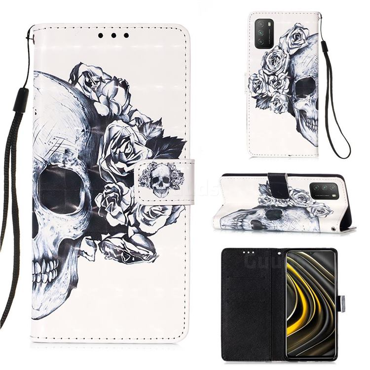 Skull Flower 3D Painted Leather Wallet Case for Mi Xiaomi Poco M3