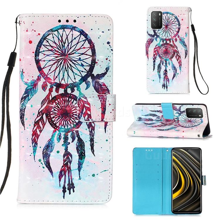 ColorDrops Wind Chimes 3D Painted Leather Wallet Case for Mi Xiaomi Poco M3