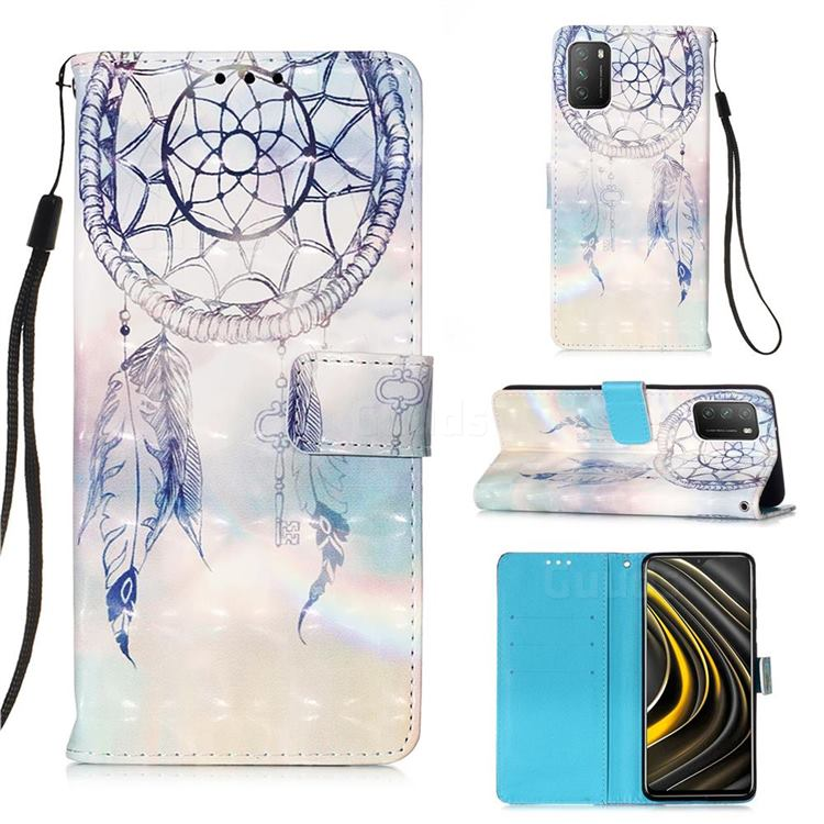Fantasy Campanula 3D Painted Leather Wallet Case for Mi Xiaomi Poco M3