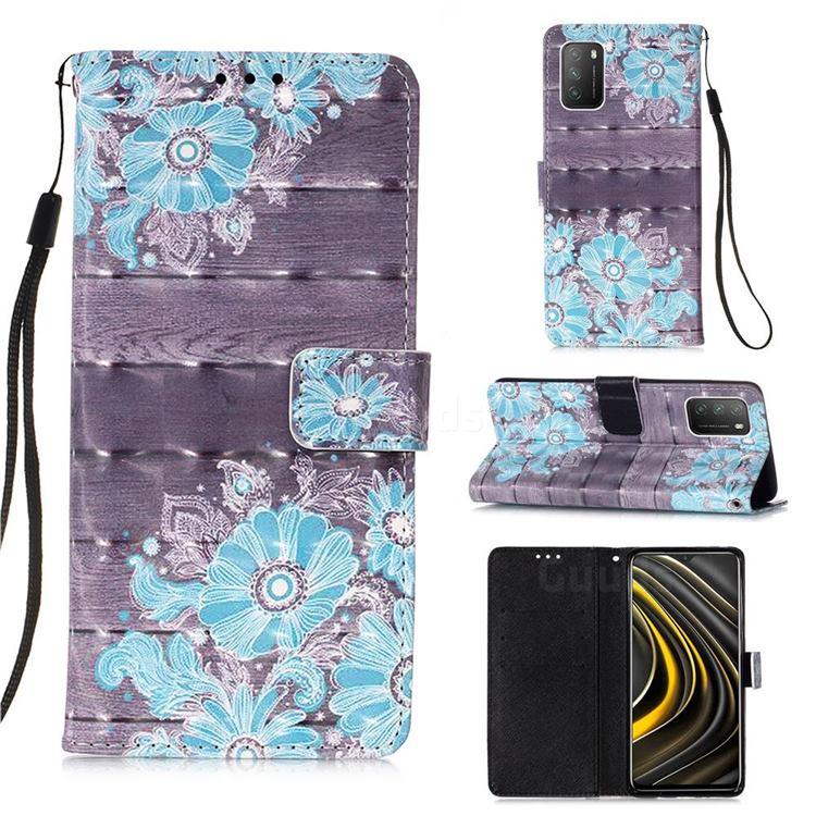 Blue Flower 3D Painted Leather Wallet Case for Mi Xiaomi Poco M3