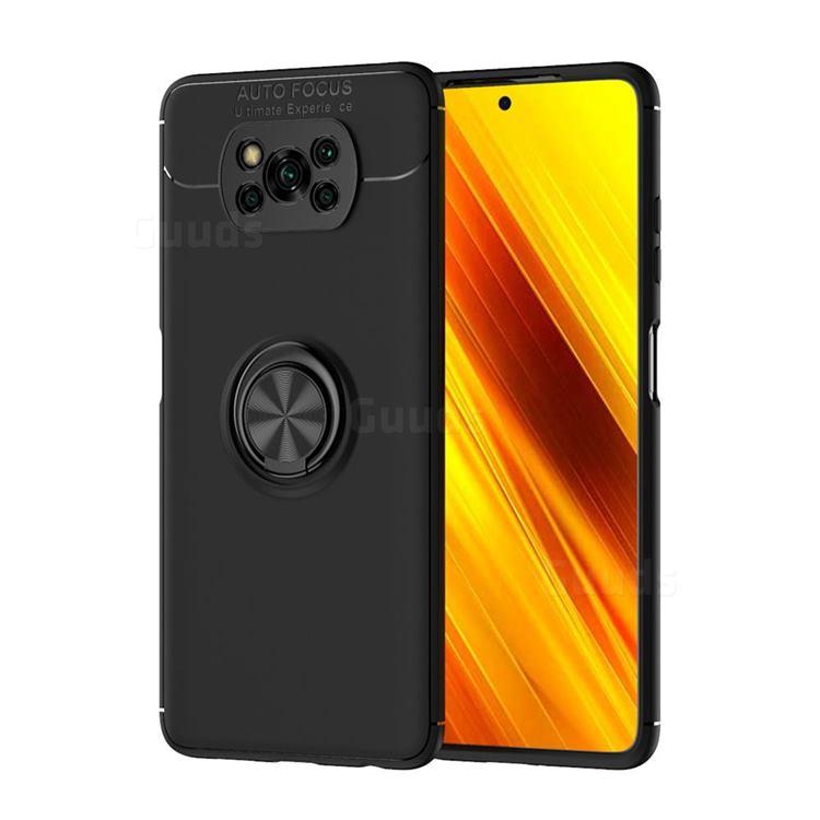 Auto Focus Invisible Ring Holder Soft Phone Case for Mi Xiaomi Poco X3 NFC - Black