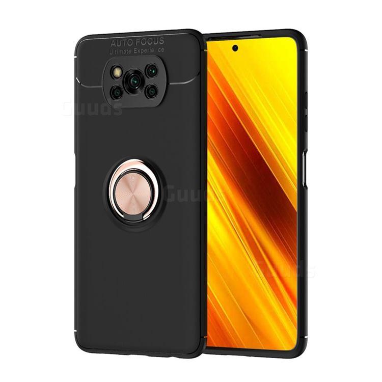 Auto Focus Invisible Ring Holder Soft Phone Case for Mi Xiaomi Poco X3 NFC - Black Gold
