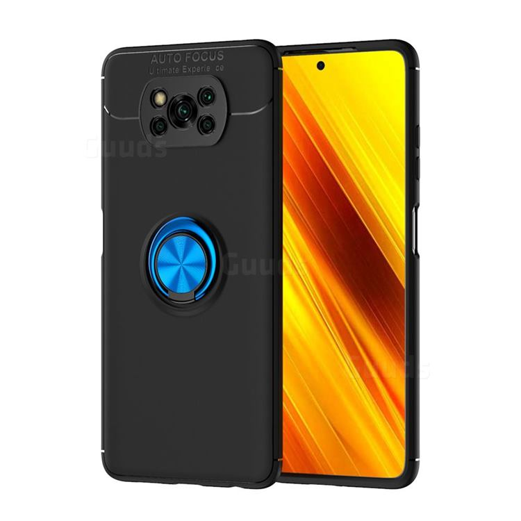 Auto Focus Invisible Ring Holder Soft Phone Case for Mi Xiaomi Poco X3 NFC - Black Blue
