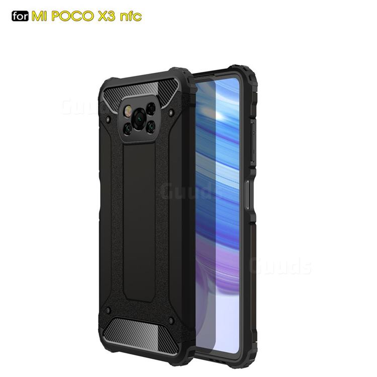 King Kong Armor Premium Shockproof Dual Layer Rugged Hard Cover for Mi Xiaomi Poco X3 NFC - Black Gold