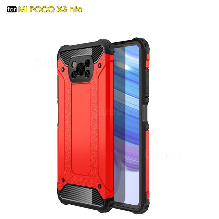 King Kong Armor Premium Shockproof Dual Layer Rugged Hard Cover for Mi Xiaomi Poco X3 NFC - Big Red