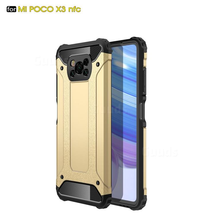 King Kong Armor Premium Shockproof Dual Layer Rugged Hard Cover for Mi Xiaomi Poco X3 NFC - Champagne Gold