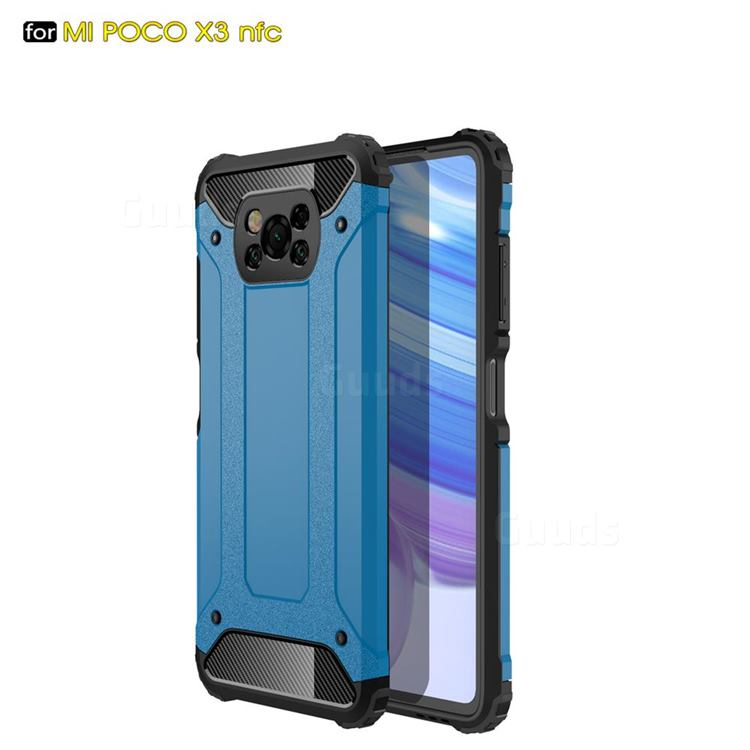 King Kong Armor Premium Shockproof Dual Layer Rugged Hard Cover for Mi Xiaomi Poco X3 NFC - Sky Blue