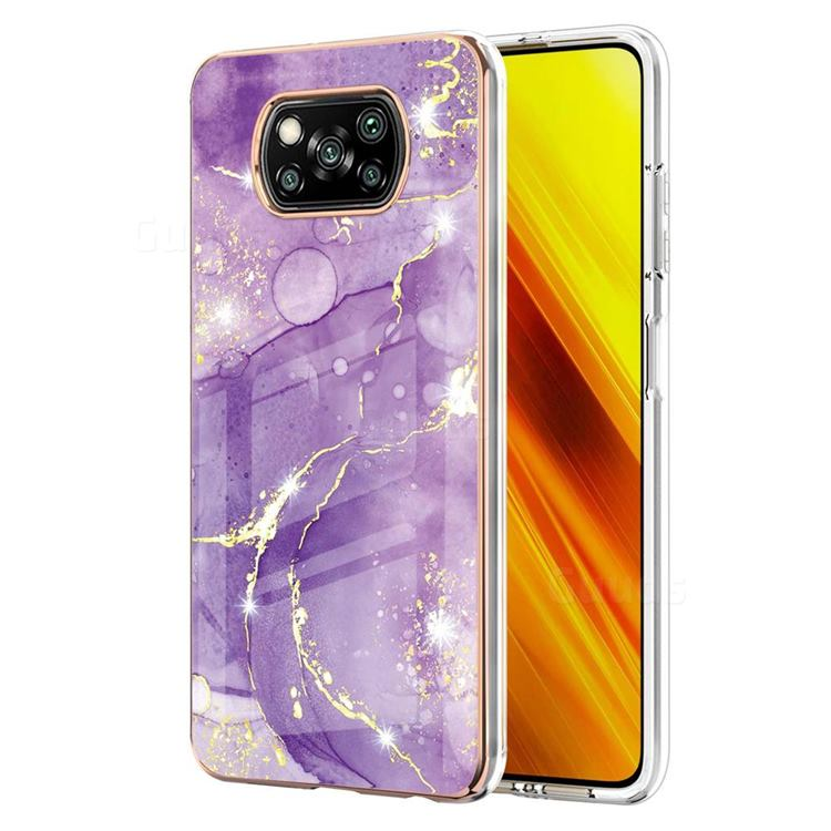 Fashion Purple Electroplated Gold Frame 2.0 Thickness Plating Marble IMD Soft Back Cover for Mi Xiaomi Poco X3 NFC