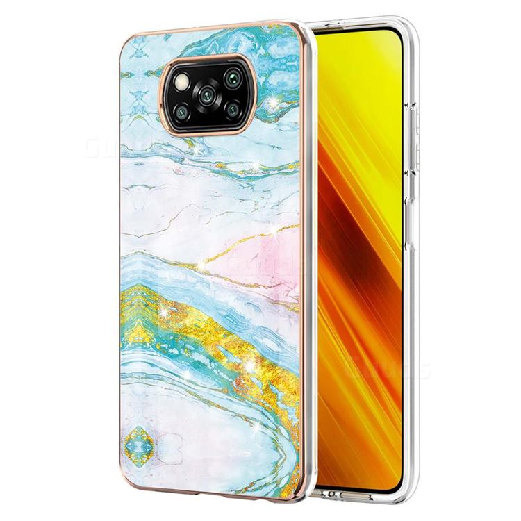 Green Golden Electroplated Gold Frame 2.0 Thickness Plating Marble IMD Soft Back Cover for Mi Xiaomi Poco X3 NFC