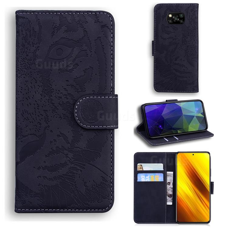 Intricate Embossing Tiger Face Leather Wallet Case for Mi Xiaomi Poco X3 NFC - Black