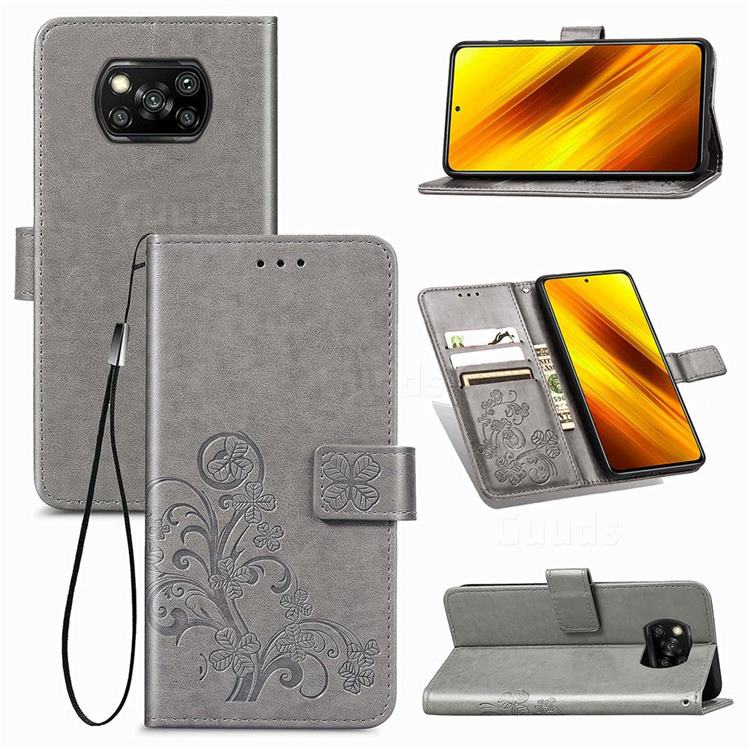Embossing Imprint Four-Leaf Clover Leather Wallet Case for Mi Xiaomi Poco X3 NFC - Grey