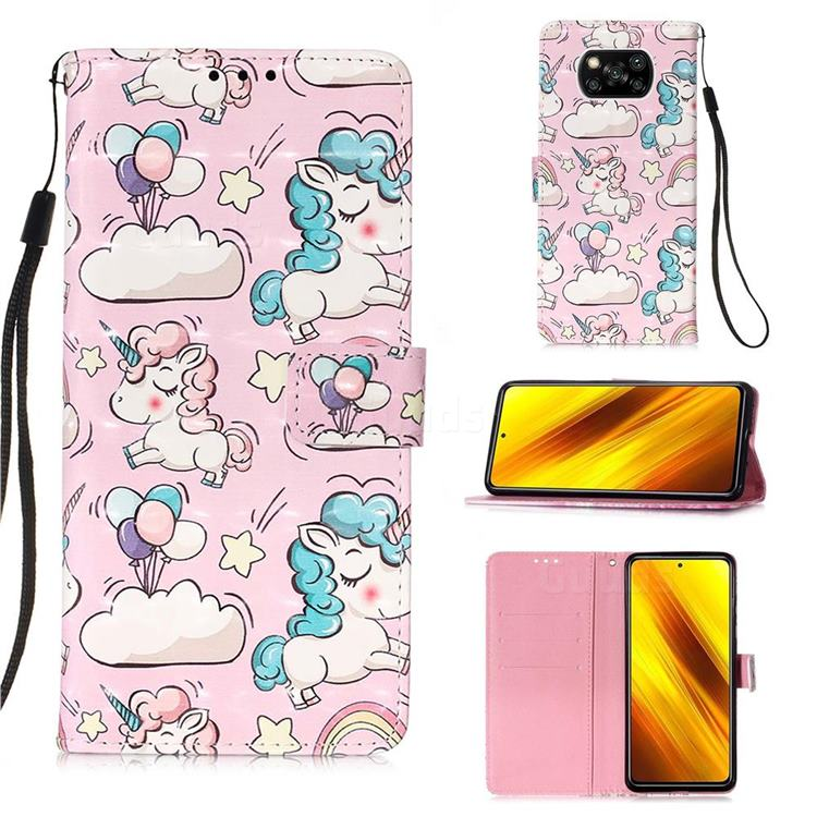 Angel Pony 3D Painted Leather Wallet Case for Mi Xiaomi Poco X3 NFC