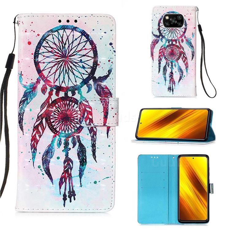 ColorDrops Wind Chimes 3D Painted Leather Wallet Case for Mi Xiaomi Poco X3 NFC