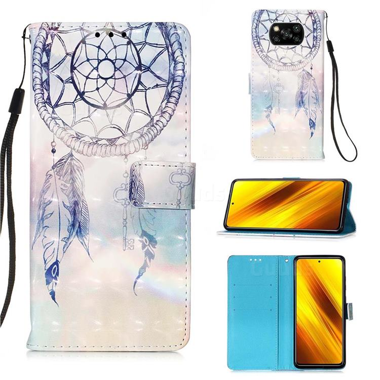 Fantasy Campanula 3D Painted Leather Wallet Case for Mi Xiaomi Poco X3 NFC