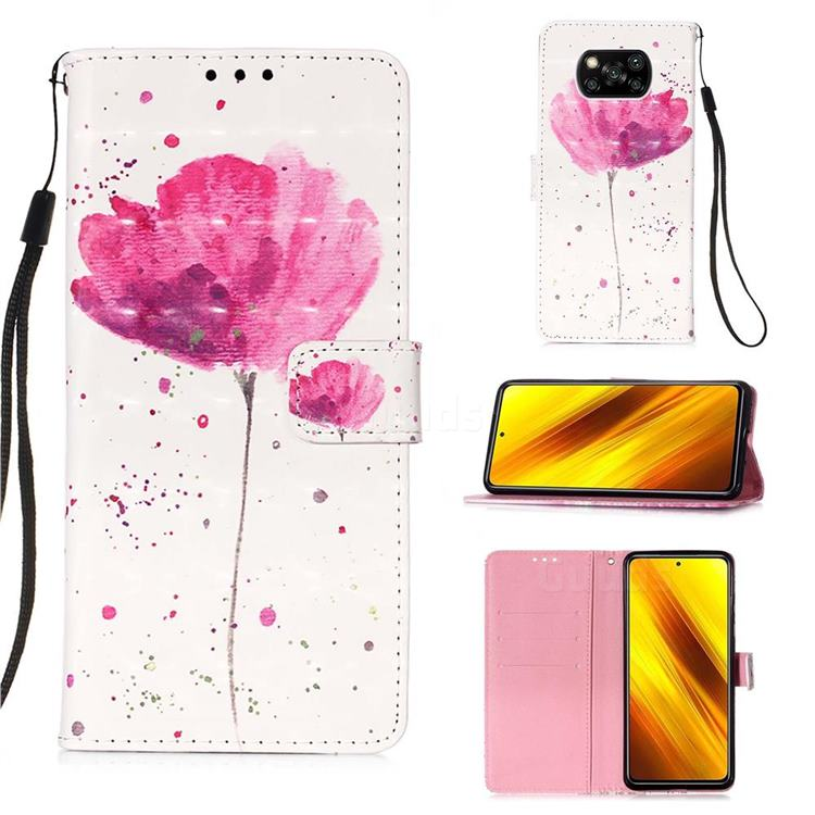 Watercolor 3D Painted Leather Wallet Case for Mi Xiaomi Poco X3 NFC