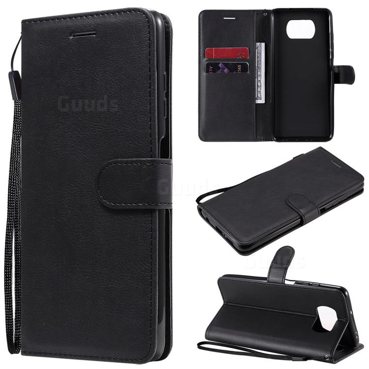 Retro Greek Classic Smooth PU Leather Wallet Phone Case for Mi Xiaomi Poco X3 NFC - Black