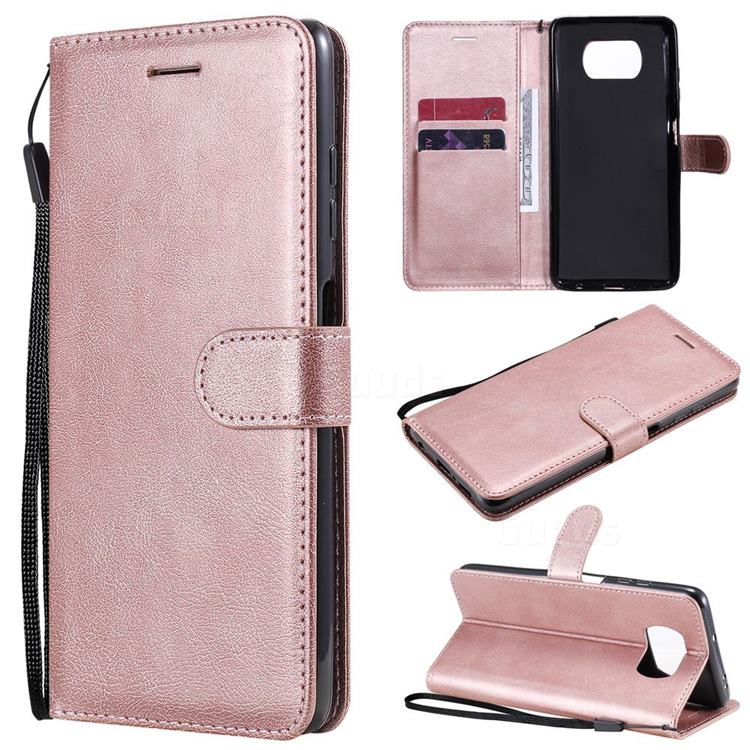 Retro Greek Classic Smooth PU Leather Wallet Phone Case for Mi Xiaomi Poco X3 NFC - Rose Gold
