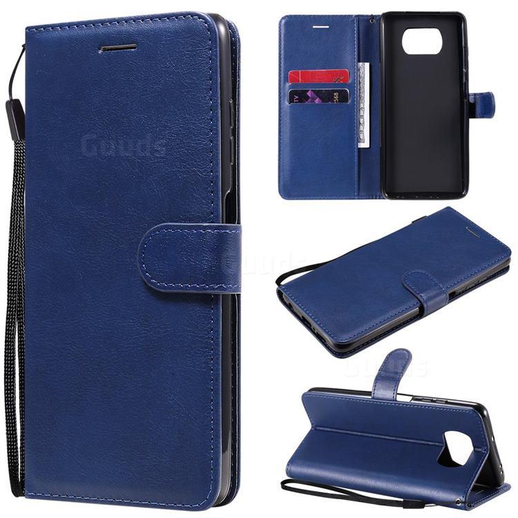Retro Greek Classic Smooth PU Leather Wallet Phone Case for Mi Xiaomi Poco X3 NFC - Blue