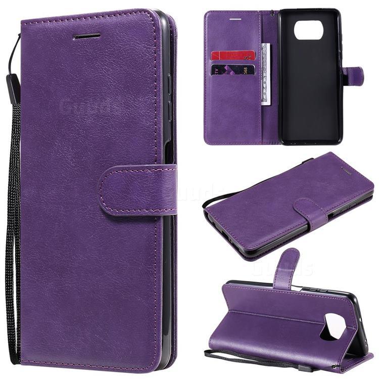 Retro Greek Classic Smooth PU Leather Wallet Phone Case for Mi Xiaomi Poco X3 NFC - Purple