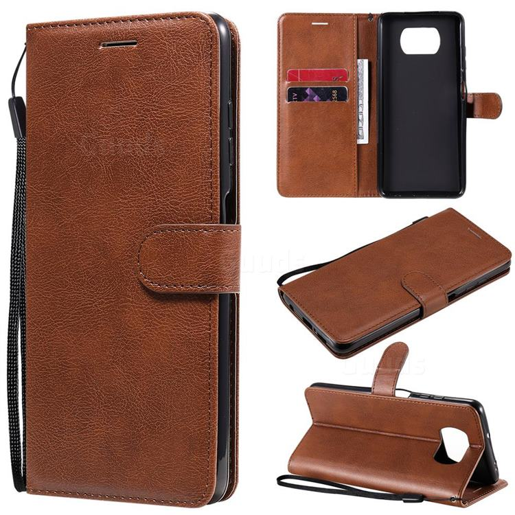 Retro Greek Classic Smooth PU Leather Wallet Phone Case for Mi Xiaomi Poco X3 NFC - Brown