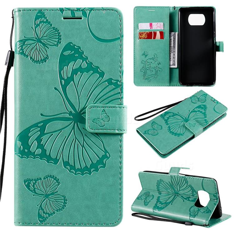 Embossing 3D Butterfly Leather Wallet Case for Mi Xiaomi Poco X3 NFC - Green