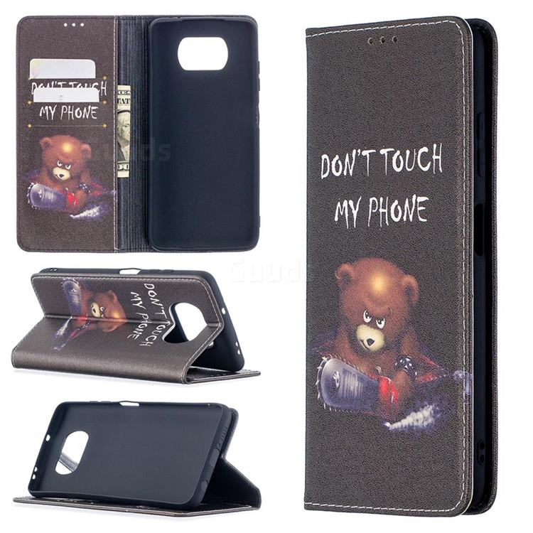 Chainsaw Bear Slim Magnetic Attraction Wallet Flip Cover for Mi Xiaomi Poco X3 NFC