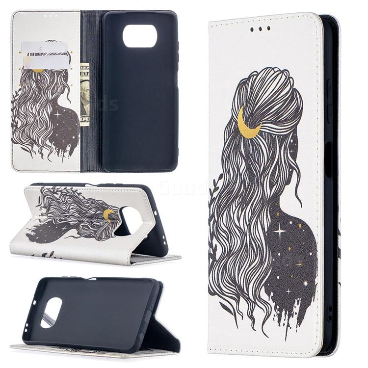 Girl with Long Hair Slim Magnetic Attraction Wallet Flip Cover for Mi Xiaomi Poco X3 NFC
