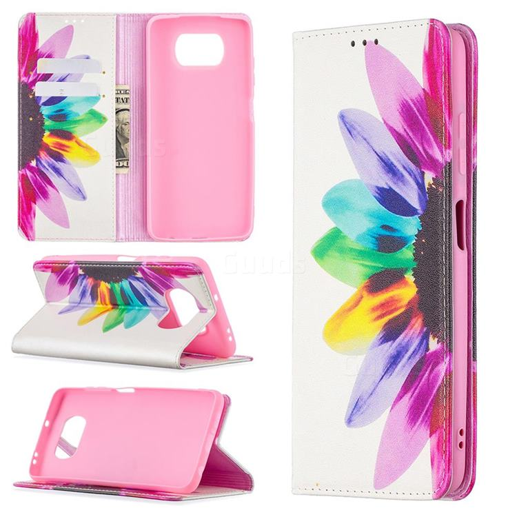 Sun Flower Slim Magnetic Attraction Wallet Flip Cover for Mi Xiaomi Poco X3 NFC