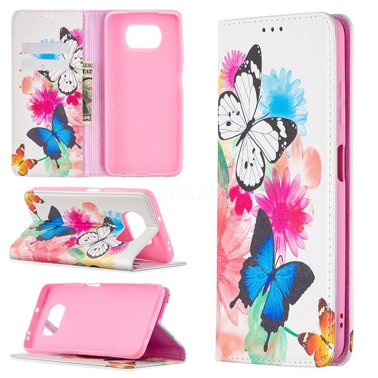 Flying Butterflies Slim Magnetic Attraction Wallet Flip Cover for Mi Xiaomi Poco X3 NFC