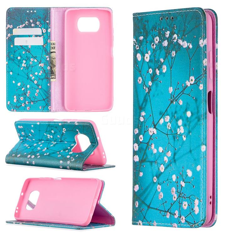 Plum Blossom Slim Magnetic Attraction Wallet Flip Cover for Mi Xiaomi Poco X3 NFC