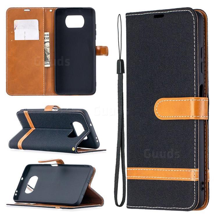 Jeans Cowboy Denim Leather Wallet Case for Mi Xiaomi Poco X3 NFC - Black