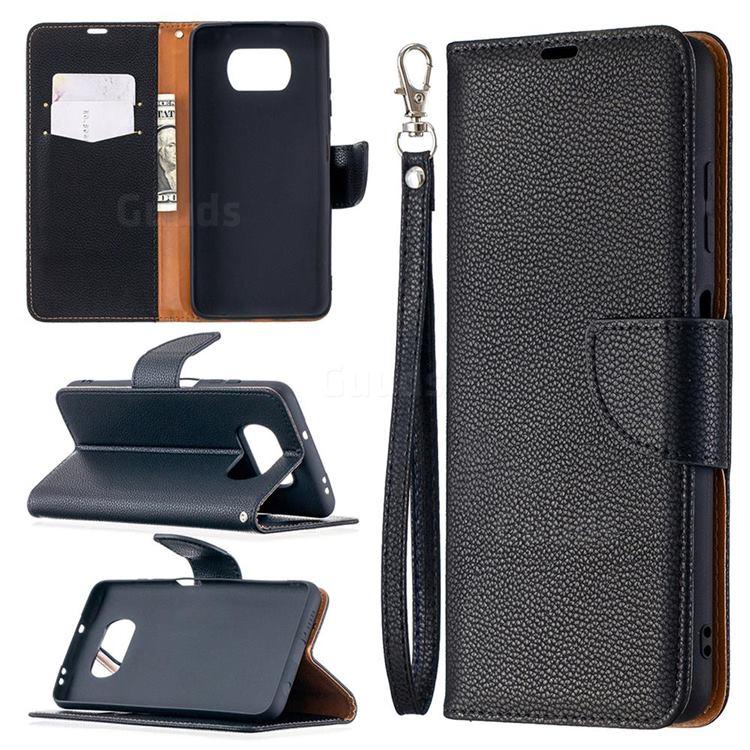 Classic Luxury Litchi Leather Phone Wallet Case for Mi Xiaomi Poco X3 NFC - Black