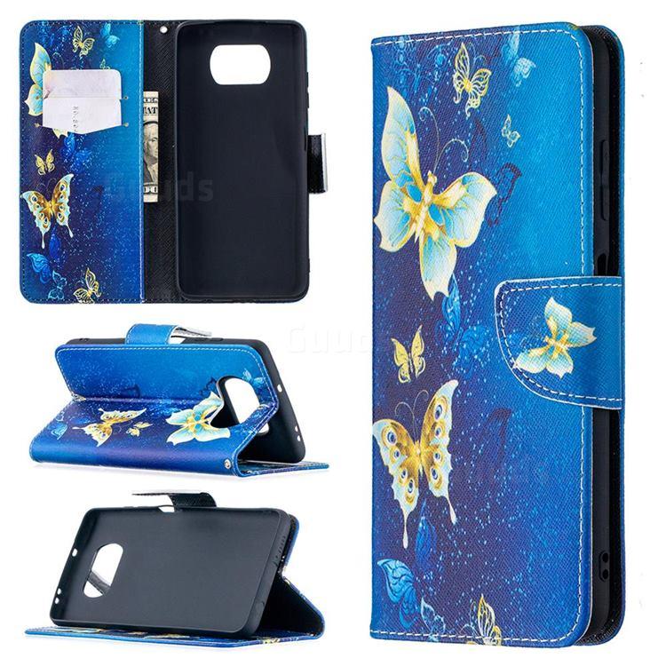 Golden Butterflies Leather Wallet Case for Mi Xiaomi Poco X3 NFC