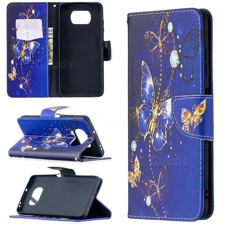 Purple Butterfly Leather Wallet Case for Mi Xiaomi Poco X3 NFC