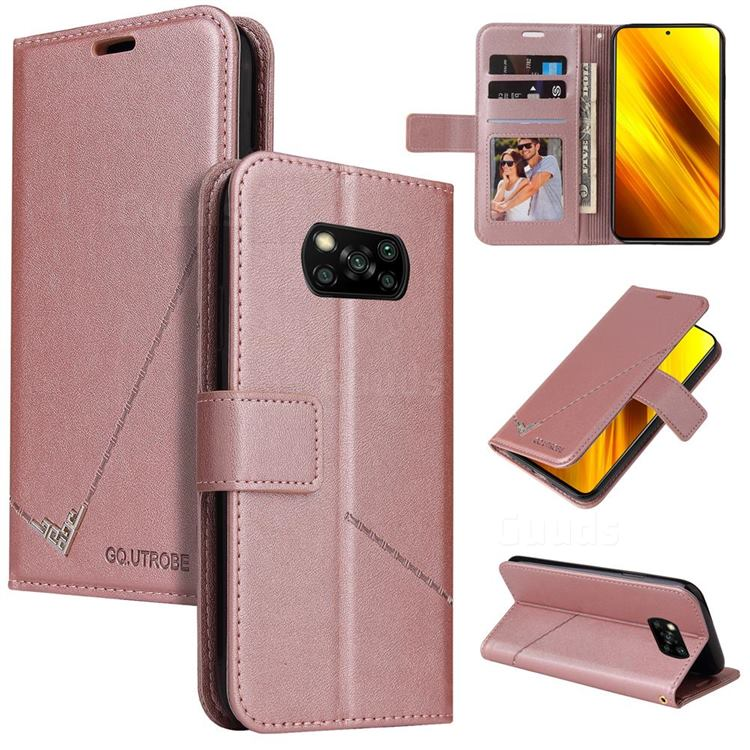 GQ.UTROBE Right Angle Silver Pendant Leather Wallet Phone Case for Mi Xiaomi Poco X3 NFC - Rose Gold